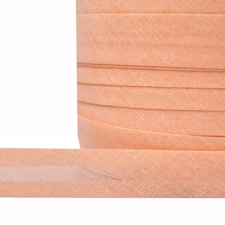 фото Косая бейка TBY однотонная хлопок, 15 мм разные цвета КБ.15 цвет 7038 персиковый