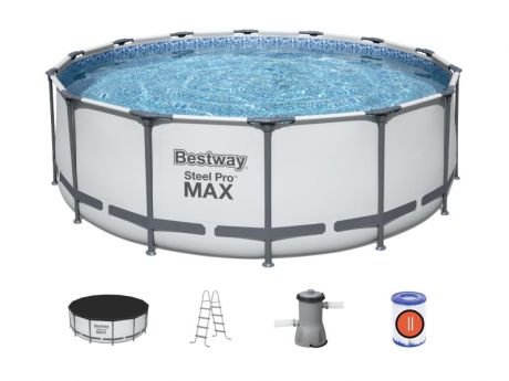Каркасный бассейн Steel Pro Max 427х122см, 15232л, фил.-насос 3028л/ч, лестница, тент, Bestway, 5612X BW