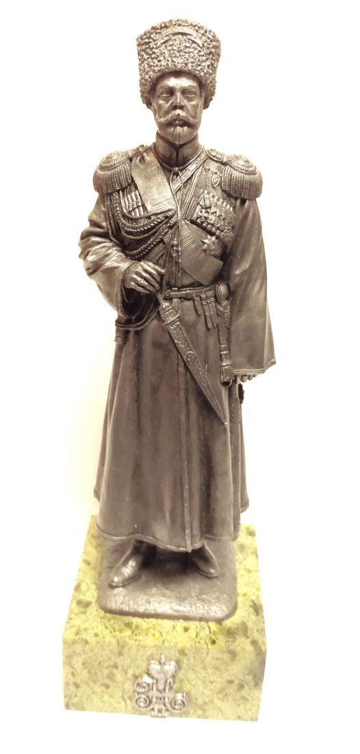 Статуэтка Император Николай второй олово, змеевик