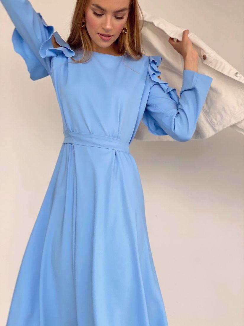3612 Платье с открытыми плечами небесно-голубое