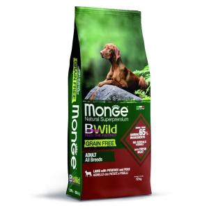 Сухой корм для собак Monge BWILD Feed the Instinct с ягненоком картофелем и горошком 12 кг
