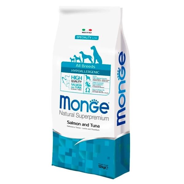 Сухой корм для собак Monge Speciality line Hypoallergenic лосось тунец 12 кг