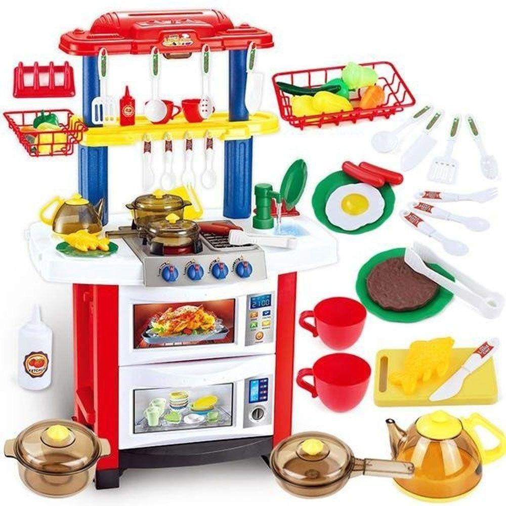 758A Детская кухня Happy Little Chef (свет, звук), 33 предмета с водой, высота 83 см.