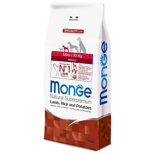 Сухой корм для собак мелких пород Monge Daily Line Mini с ягненком рисом и картофелем 7.5 кг