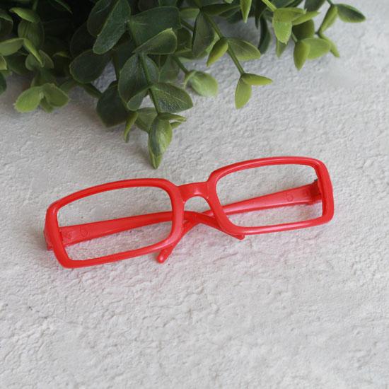 Кукольный аксессуар - Очки красные прямоугольные без стекла, 9 см.