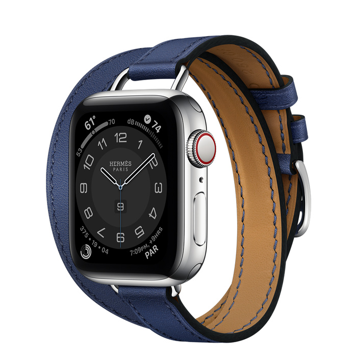 Часы Apple Watch Hermès Series 6 GPS + Cellular 40mm Silver Stainless Steel Case with Bleu Saphir Swift Leather Attelage Double Tour