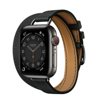 Часы Apple Watch Hermès Series 6 GPS + Cellular 40mm Space Black Stainless Steel Case with Noir Swift Leather Attelage Double Tour