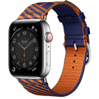 Часы Apple Watch Hermès Series 6 GPS + Cellular 44mm Silver Stainless Steel Case with Bleu Saphir/Orange Jumping Single Tour