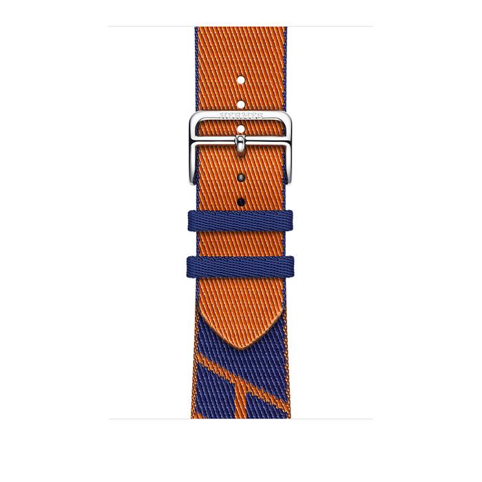 Ремешок Apple Watch Hermès Bleu Saphir/Orange Jumping Single Tour из кожи (для корпуса 44 мм)