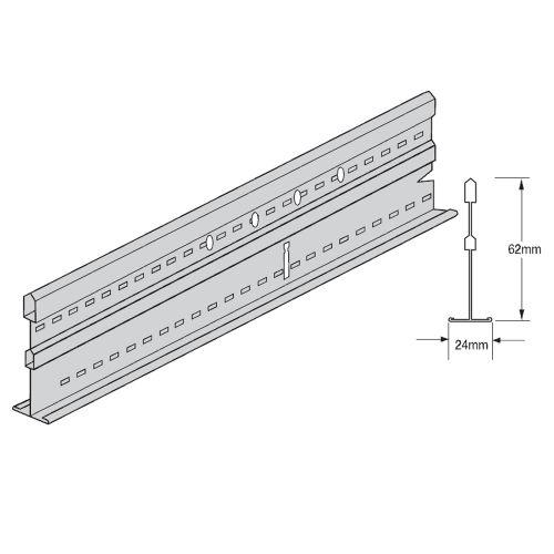 Поперечная рейка Silhouette 15XL 3600x44 мм с щелью 6 мм (каркас белый)