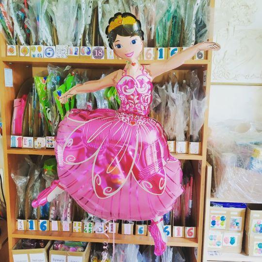 Балерина фольгированный шар с гелием