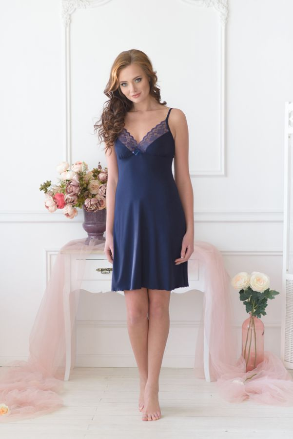 Ночная сорочка арт.0056 темно-синяя, вискоза