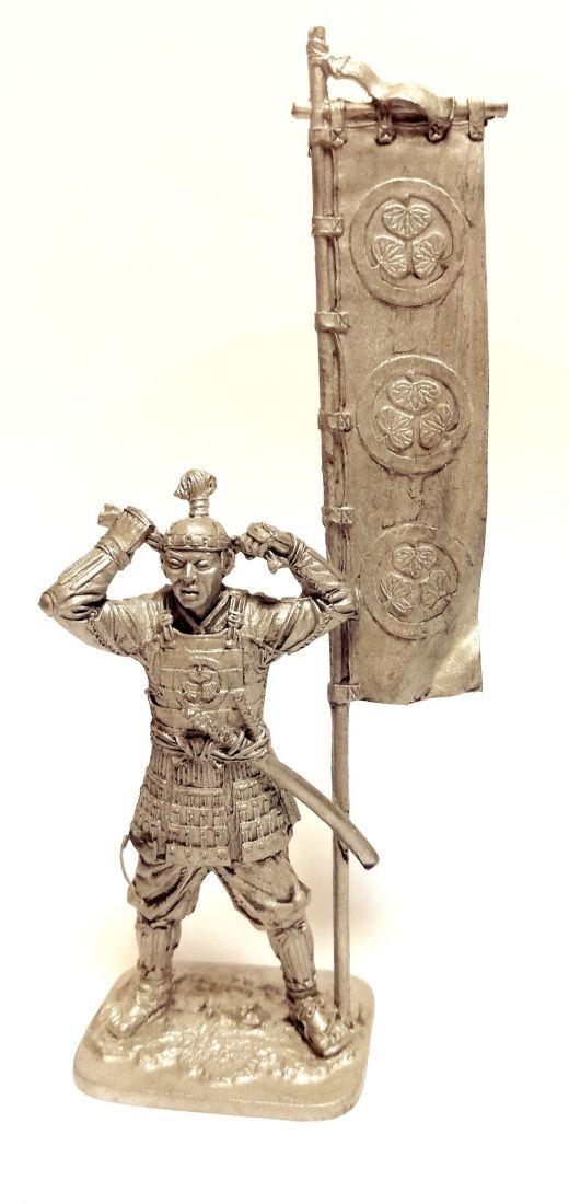 Фигурка Самурай асигару с флагом олово