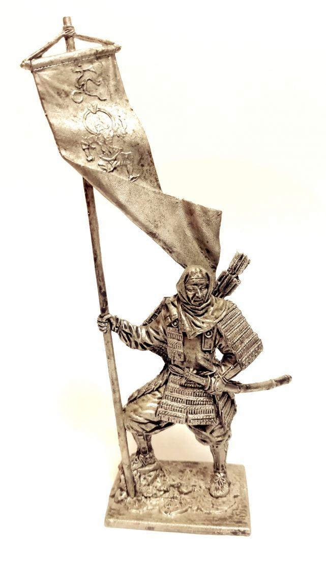 Фигурка Японский воин-монах с флагом 1185 г. олово
