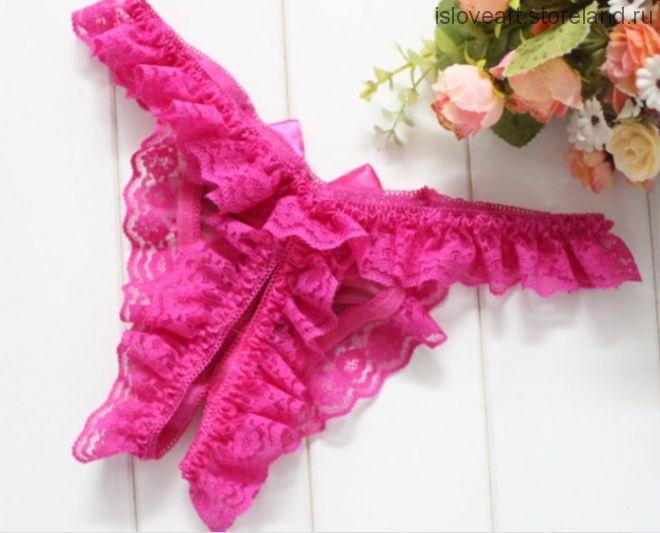 Кружевные стринги с доступом, цвет ярко розовый, размер единый (42/46)