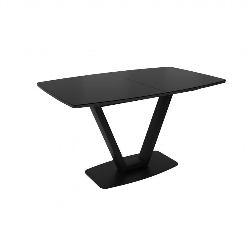 ЛОТУС стол раздвижной с матовым стеклом Matelux Черный/Черный ЛИСТВИНГ