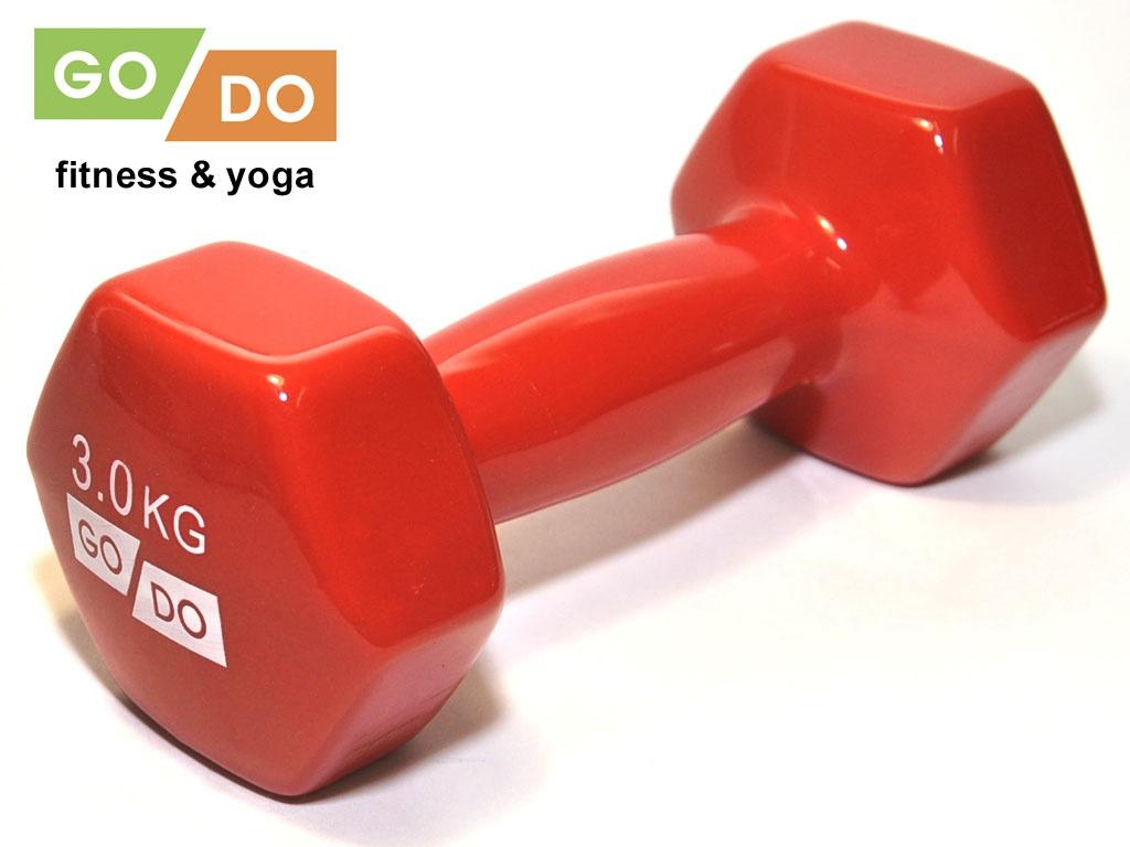 Гантель GO DO в виниловой оболочке. Вес 3 кг. (красный)., артикул 31556 (шт.)