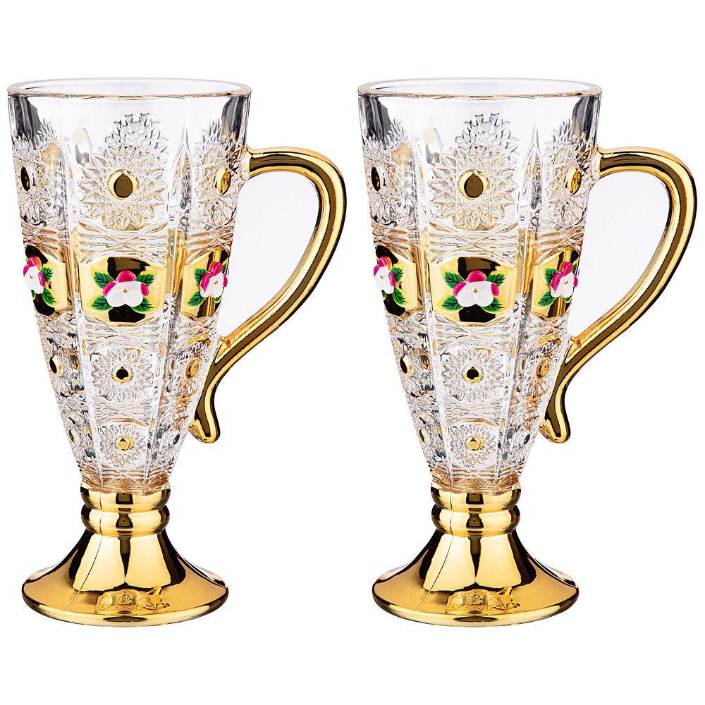"НАБОР ИЗ 2-Х КРУЖЕК ""LEFARD GOLD GLASS"" 250 МЛ. ВЫСОТА=16,5 СМ."