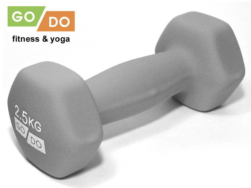 Гантель GO DO в виниловой матовой неопреновой оболочке. Вес 2,5 кг. (серый)., артикул 31561 (шт.)