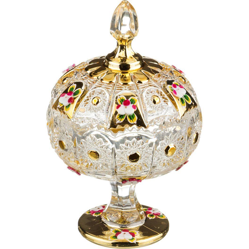"""КОНФЕТНИЦА С КРЫШКОЙ """"LEFARD GOLD GLASS"""" ДИАМЕТР=11 СМ. ВЫСОТА=18,5 СМ."""