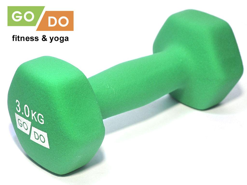 Гантель GO DO в виниловой матовой неопреновой оболочке. Вес 3 кг. (зелёный)., артикул 31562 (шт.)