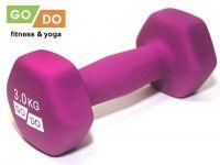 Гантель GO DO в виниловой матовой неопреновой оболочке. Вес 3 кг. (фиолетовый)., артикул 31562 (шт.)