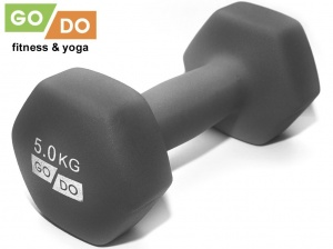 Гантель GO DO в виниловой матовой неопреновой оболочке. Вес 5 кг. (серый), артикул 31733 (шт.)