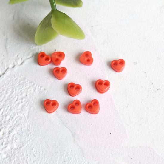 Набор микро пуговиц для творчества - Оранжевые сердечки, 10 шт., 4 мм.