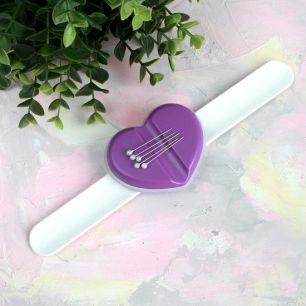 Магнитная игольница - Браслет с фиолетовым сердцем