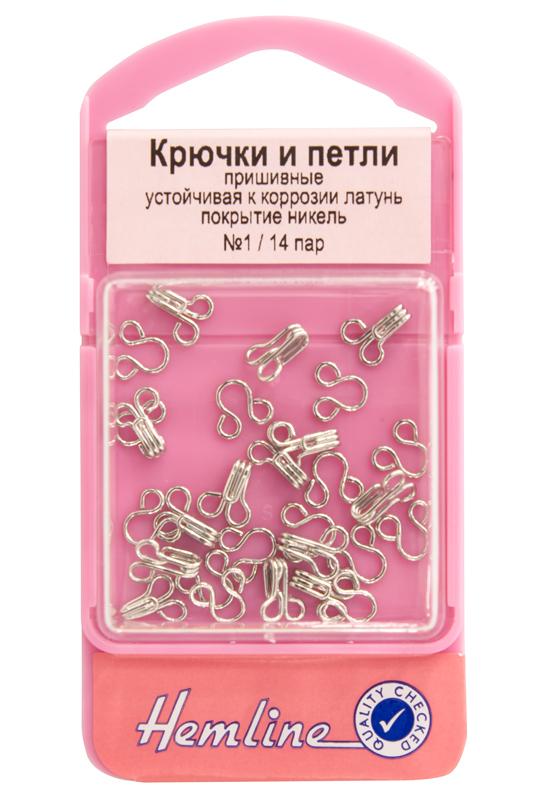фото Крючки и петли пришивные №1 (маленькие) с защитой от коррозии 14 пар в упаковке Hemline 400.1