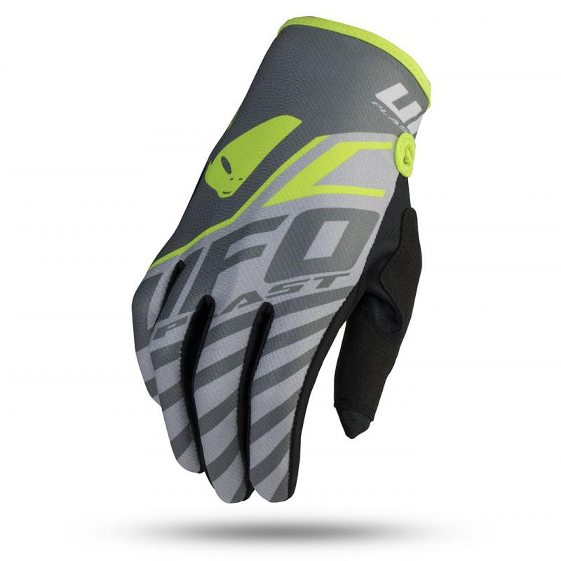 UFO Skill Vanadium Glove Grey/Neon Green перчатки для мотокросса, серые