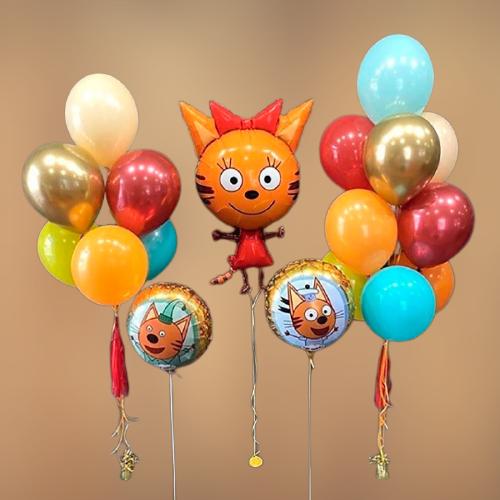 """Композиция шаров """"Три Кота на праздник"""""""