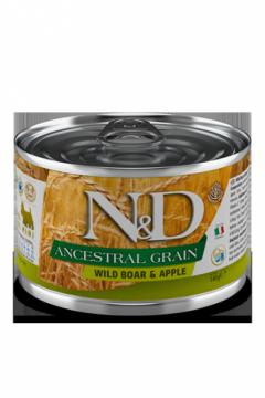 N&D DOG ANCESTRAL GRAIN BOAR&APPLE mini (Кабан, яблоко для собак мелких пород) 140г.