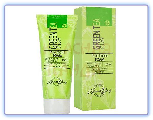Пенка для умывания с зеленой глиной Grace Day Green Tea Clay Pure Facial Foam