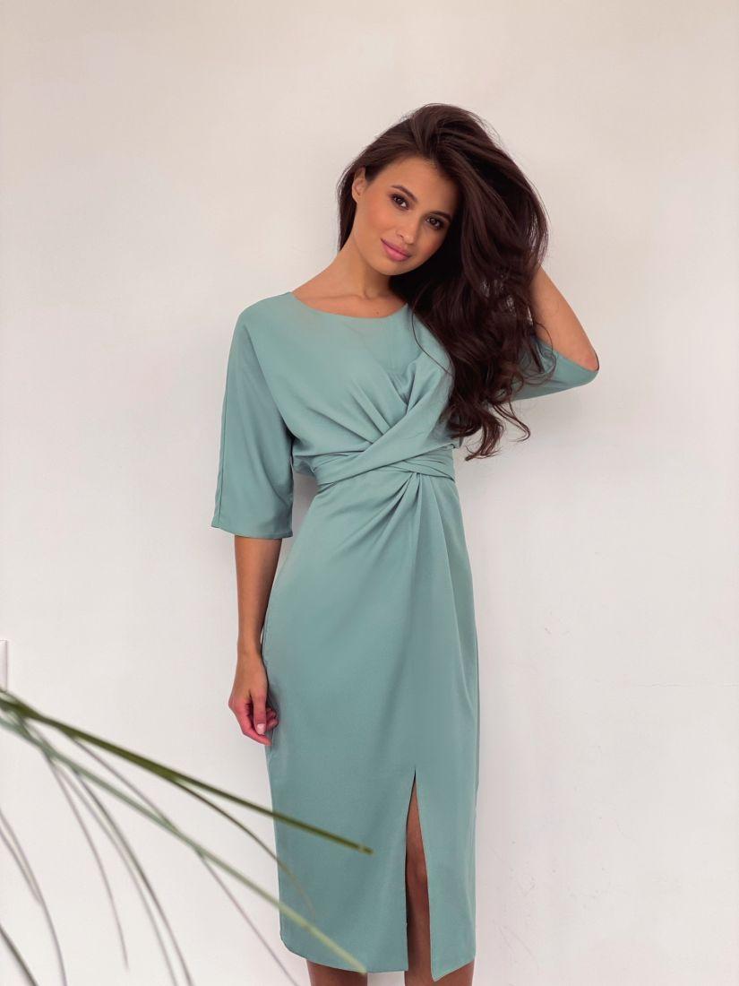 4214 Платье с перекрутами фисташковое