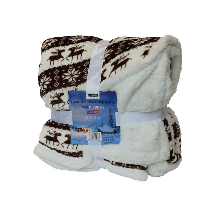 Плед SHERPA Blanket Laplandia 150*200 см brown/white