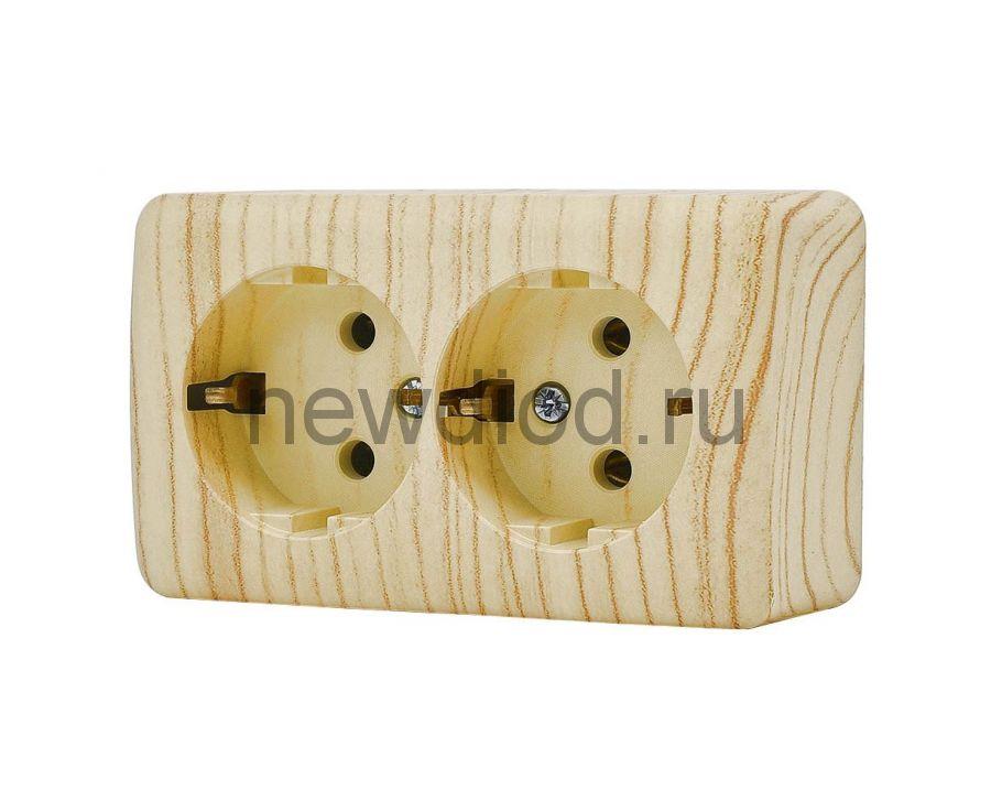 VIOLA Розетка двойная с/з закрытый корпус керамика белёный дуб (12шт/144шт)