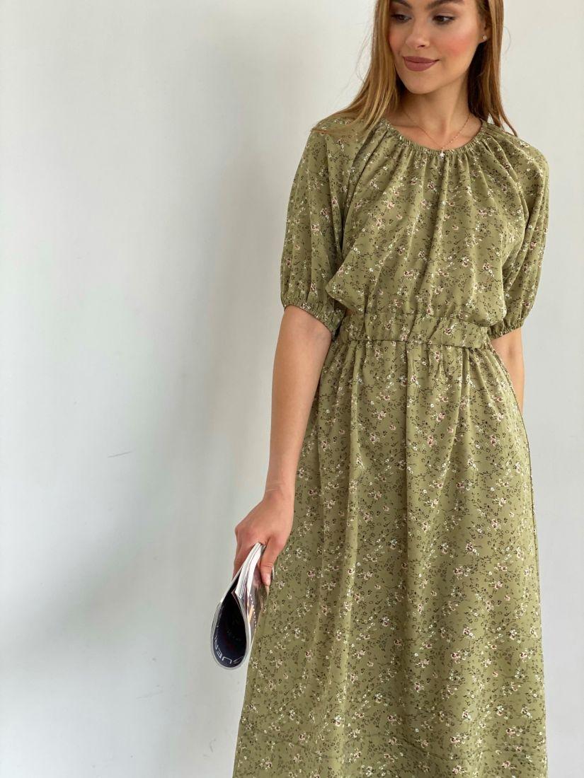 4222 Платье из оливковой вискозы с мелкими цветочками