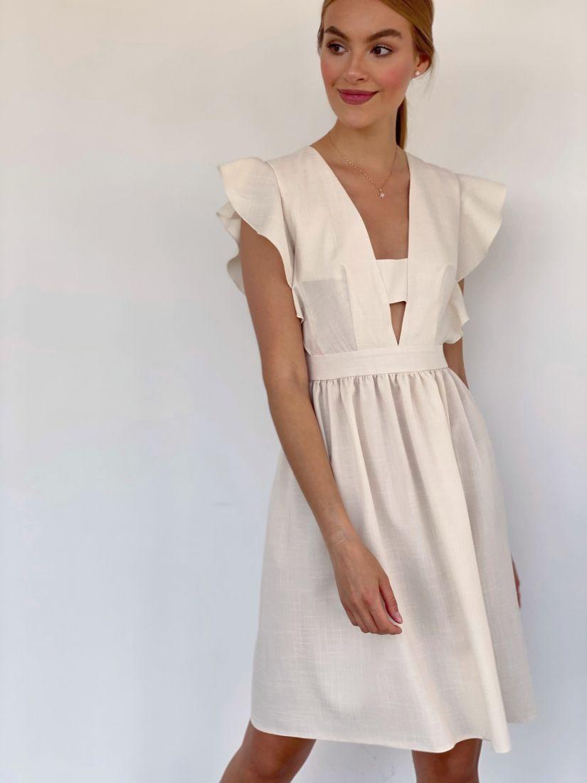 """4224 Платье с глубоким декольте в цвете """"айвори"""""""