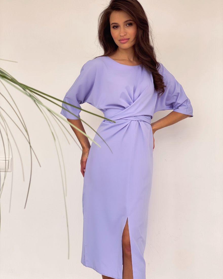4239 Платье с перекрутами лавандовое