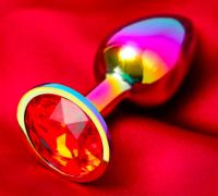 """Анальная втулка """"Хамелеон"""", с красным кристаллом, D = 27 мм"""