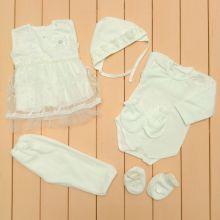 Костюм: чепчик, платье, боди, царапки, штаны, пинетки