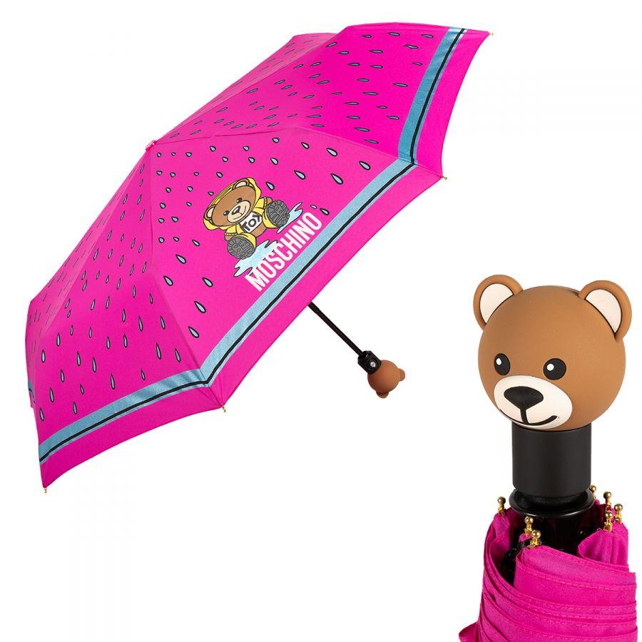 Зонт складной Moschino 8058-OCJ Bear in the rain Fuxia
