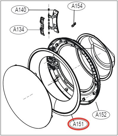 Внешний обод люка MDQ63618109 для стиральной машины LG
