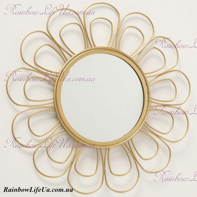 """Настенное зеркало золото 37 см """"Цветочек"""""""