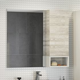 Зеркало-шкаф Comforty Прага-90 дуб белый