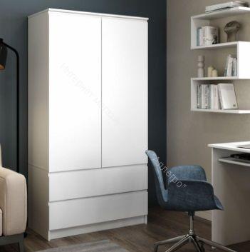 Шкаф Мори МШ900.1, 2 двери, 2 ящика, белый