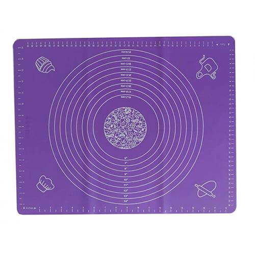 Силиконовый коврик для раскатывания теста, 65х45 см, цвет - фиолетовый.