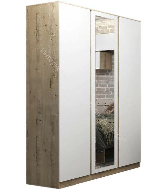 Шкаф 3-х ств. с зеркалом Марли МШК1400.1 (Белый глянец/Дуб бунратти)