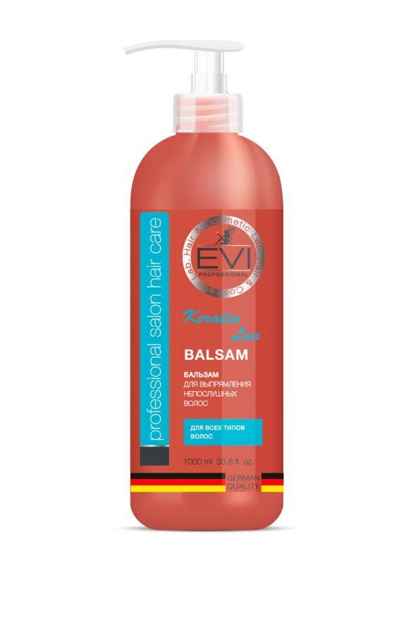 Бальзам-ополаскиватель «Кератиновое выпрямление» для непослушных волос, 1000 мл. «EVI»